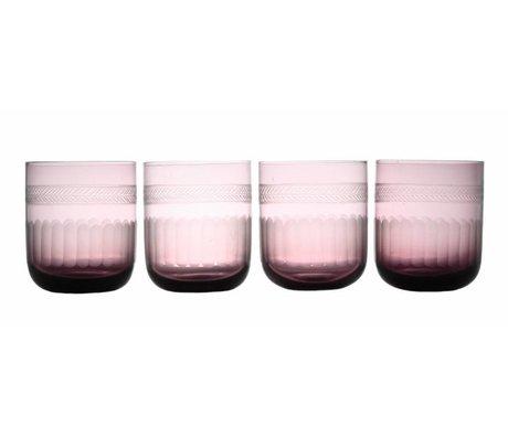 HK-living Glas paars Ø8x10cm, Living glass purple (etched)