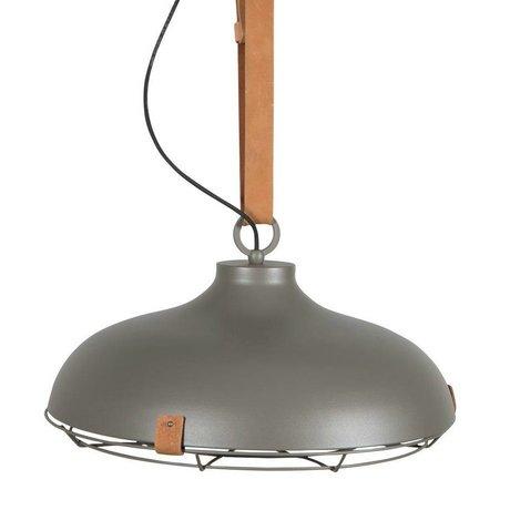 Zuiver Hanglamp Dek 51 grijs bruin metaal leer Ø51x22cm
