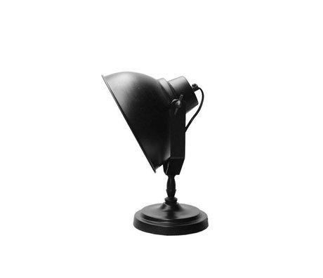 LEF collections Tafellamp Urban mat zwart metaal hout Ø20cm