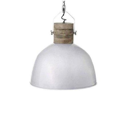 LEF collections Hanglamp Nordic M wit bruin aluminium hout ∅35x43cm