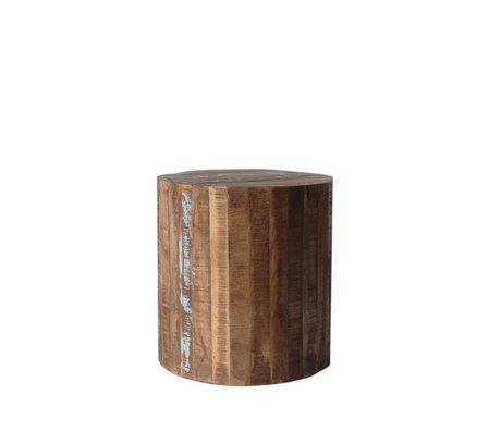 LEF collections Bijzettafel Multi rond bruin hout Ø42x45cm