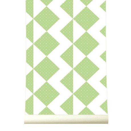 Roomblush Behang Zigzag groen papier 1140x50cm