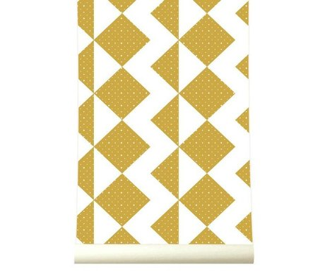 Roomblush Behang Zigzag mosterdgeel papier 1140x50cm