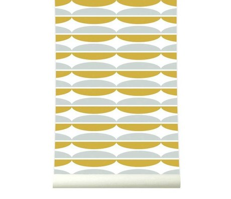 Roomblush Behang Oval mosterdgeel grijs papier 1140x50cm
