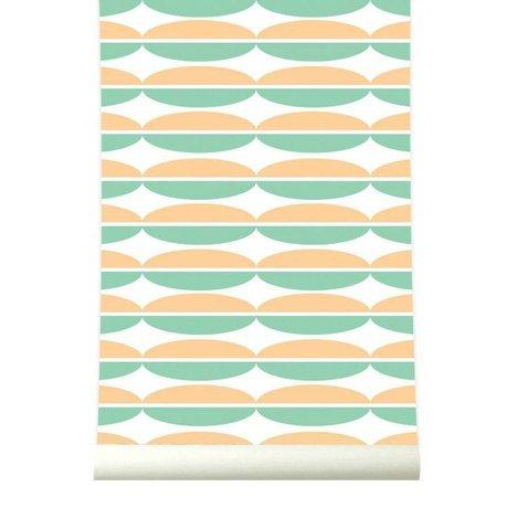Roomblush Behang Oval oranje groen papier 1140x50cm