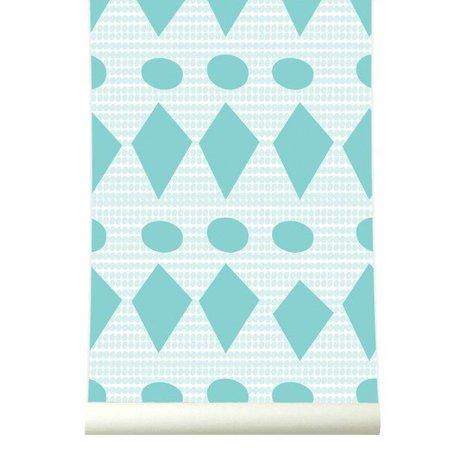 Roomblush Behang Flags cyaan papier 1140x50cm