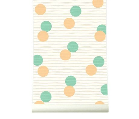 Roomblush Behang Confetti oranje groen papier 1140x50cm