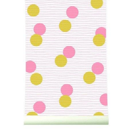 Roomblush Behang Confetti mosterdgeel roze papier 1140x50cm