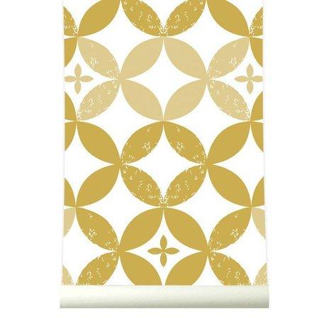 Roomblush Behang Visionary mosterdgeel wit papier 1140x50cm