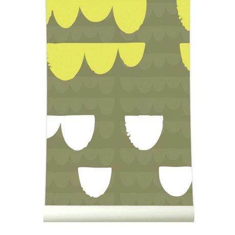 Roomblush Behang Falling limoengroen papier 1140x50cm