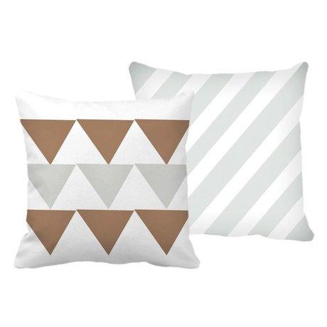 Roomblush Sierkussen Pyramid stripes koper grijs wit katoen 45x45cm