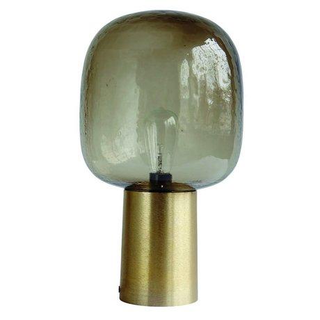 Housedoctor Tafellamp Note vergrijsd glas goud aluminium ø28x52cm