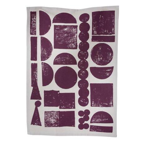 Ferm Living Theedoek Stamp organisch katoen aubergine grijs 50x70cm