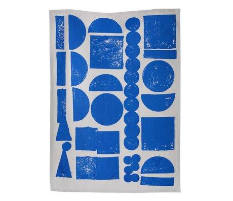 Ferm Living Theedoek Stamp organisch katoen blauw grijs 50x70cm