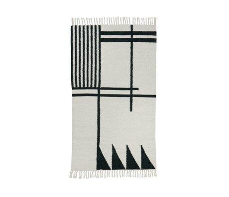 Ferm Living Vloerkleed Kelim Black Lines 2 maten 80x140cm en 140x200cm