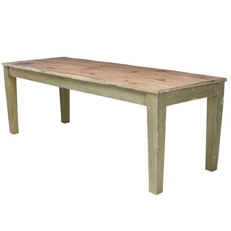 Storebror Eettafel Rustic hout met groene tafelpoten 220x80x77cm