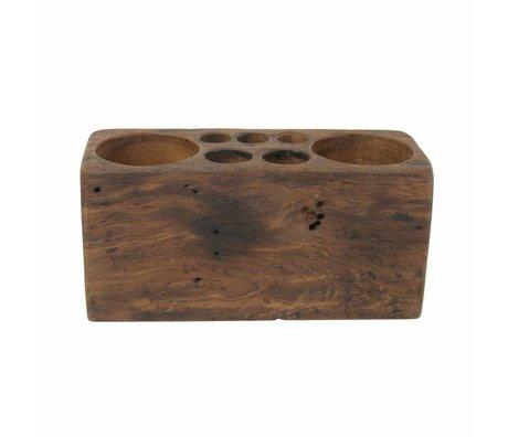 Storebror Penhouder houten bureau organizer teak hout medium 25x10x12cm