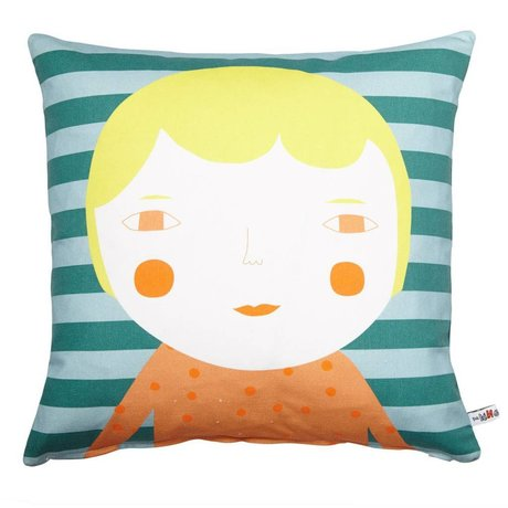 Kussen Elfie Blonde katoen geel/groen/blauw ø42x42xm