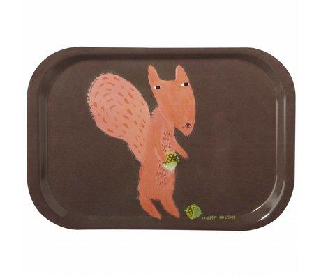 Dienblad Squirrel melamine bruin/oranje 27x18cm