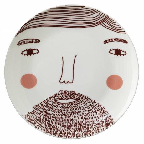 Bord Beardy Man plate porselein wit/bruin ø21cm