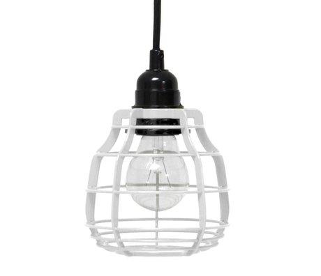 HK-living Hanglamp LAB metaal wit met pendel 13x13x17cm