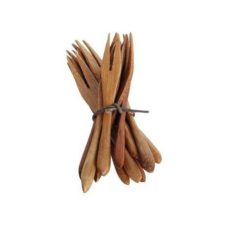 Nicolas Vahe Bestek vorkje van bamboe set van 12 bruin 9cm