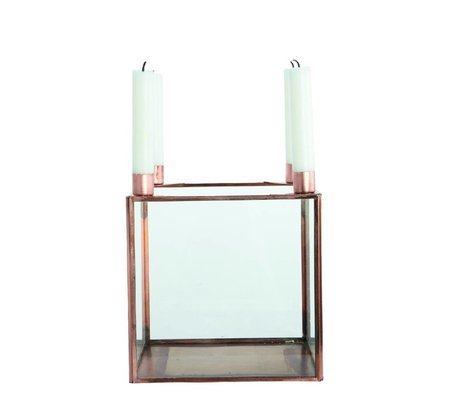Housedoctor Kandelaar kubus SQUARE metaal koper kleurig 20x20x22cm