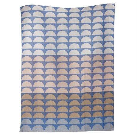 Ferm Living Theedoek Bridges organische katoen blauw 50x70cm