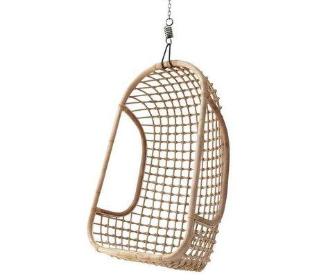 HK-living Hangstoel licht naturel bruin rotan 55x72x110cm