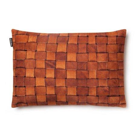 Snurk Beddengoed Sierkussen hoes 'Heather leather' bruin leer 35x50cm
