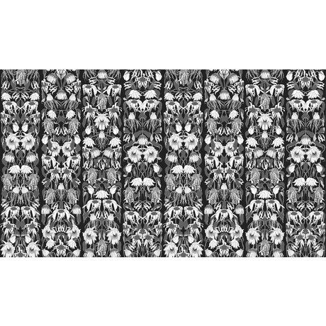 NLXL-Studio Job Behang 'Withered flowers black 06' zwart/wit papier 900x48.7cm