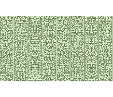 NLXL-Studio Job Behang 'Labyrinth 02' papier 900x48.7cm groen/wit