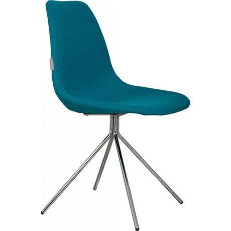 Zuiver Eetkamerstoel 'Fourteen up' blauw/zilver textiel/chroom 46x54x83cm