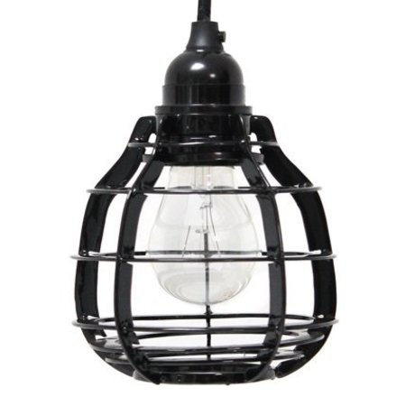 HK-living Hanglamp LAB met plafondkapje zwart metaal Ø13x17cm, LAB lamp zwart