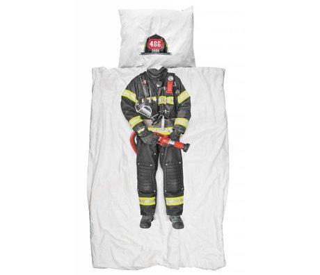 Snurk Beddengoed Dekbedovertrek 'Firefighter' wit/multicolor katoen 140x200 cm