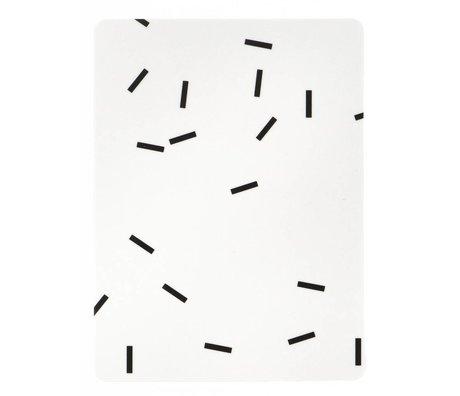 Ferm Living Ontbijtplankje 'Buttering Board Mini Stick' zwart/wit gelamineerd berken fineer 20x15cm