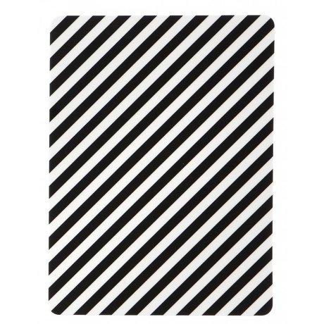 Ferm Living Ontbijtplankje 'Buttering Board Black stripe' zwart/wit gelamineerd berken fineer 20x15cm