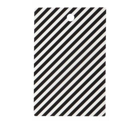 Ferm Living Snijplank 'Cutting Board Stripe' zwart/wit gelamineerd berkenfineer 19.5x29.5cm