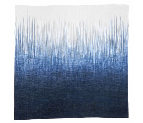 Ferm Living Servetten set van vier 'PEN NAPKINS' 40x40cm blauw/wit pennenstreep print 100% katoen