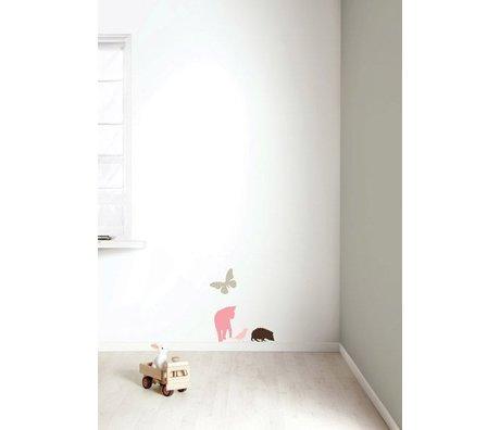 KEK Amsterdam Muursticker set 'Miniset 2 GIRLS' roze/bruin vinyl
