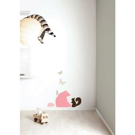 KEK Amsterdam Muursticker set 'Bear GIRLS' roze/bruin vinyl