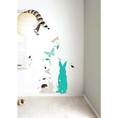 KEK Amsterdam Muursticker set 'Rabbit XL BOYS' blauw/bruin vinyl