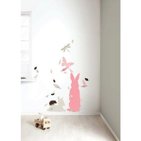 KEK Amsterdam Muursticker set 'Rabbit XL GIRLS' roze/bruin vinyl
