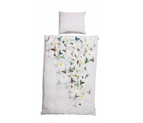 Snurk Beddengoed Dekbedovertrek 'Butterfly' grijs/beige katoen 3 maten