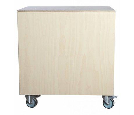 Housedoctor Poef/bijzettafel met deksel 'Fold' creme hout berkenfineer 60x45x65 cm