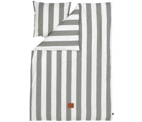 Ferm Living Dekbedovertrek Vertigo grijs/wit gestreept katoen 140x200 cm -Adult