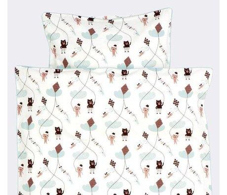 Ferm Living Dekbedovertrek Kite wit/roze/mintgroen katoen 100x140cm-Junior