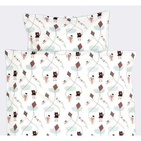 Ferm Living Dekbedovertrek Kite wit/roze/mintgroen katoen 70x100cm-Baby