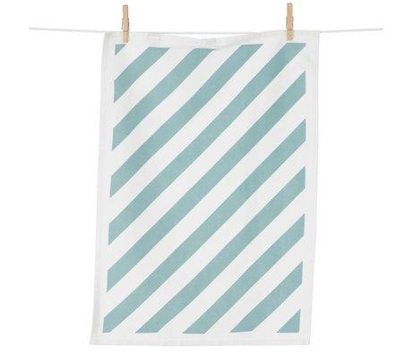 Ferm Living Theedoek Stripe katoen mint groen/wit 50x70cm