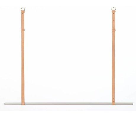 Ferm Living Kledingrek/kapstok metaal/leer grijs/bruin L135 cm x 87-107cm